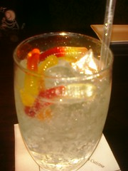 Jamie's drink at Dulces... Sprite with gummy bears!