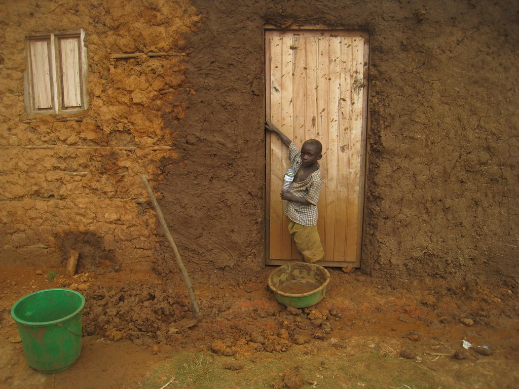 Homes are made primarily of mud.