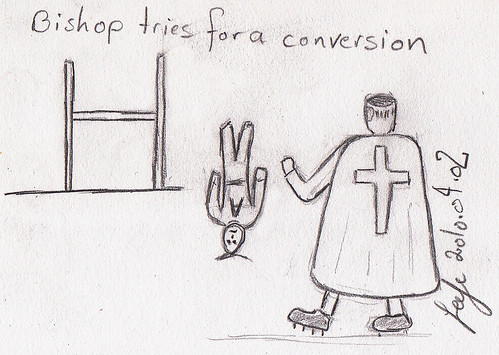 Bishop tries for a conversion