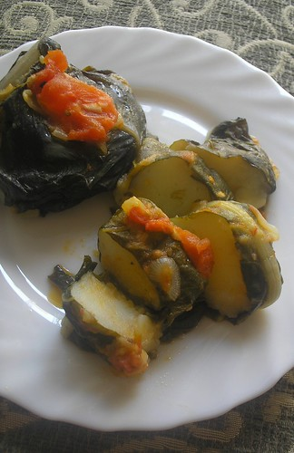 Swiss chard stuffed with mashed potatoes