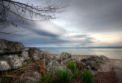 Blick vom Campingplatz-Strand in Fischbach über den Bodensee