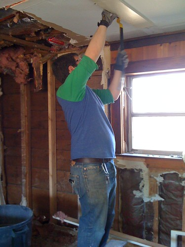 Mike working on the ceiling