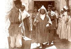 Morocco 1926 Postcard - Mr Abdel Krim leaving for Exile in Réunion (ronramstew) Tags: 1920s france history reunion french northafrica politics colonial morocco maroc empire departure marokko 1926 colonialism lemaroc abdelkrim mattuecos