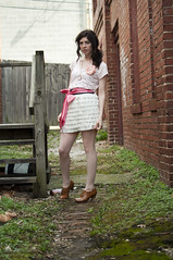Modcloth Challege Part 1: A Little Skirt (strawberrykoi) Tags: girl wardroberemix vintage strawberry nikon mod antique ivory skirt short koi cameo cloth pleated modcloth d5000