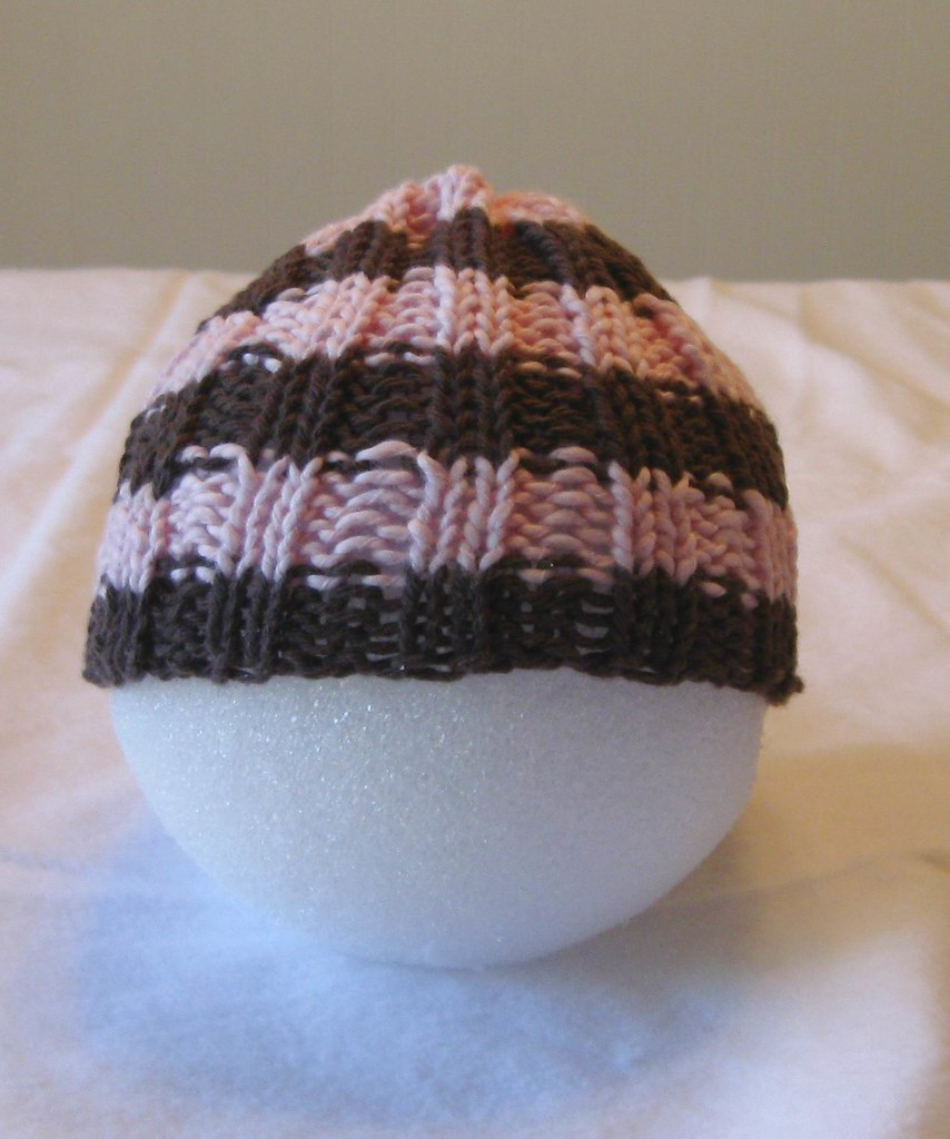 BABY HAT- Pale Pink and Chocolate Stripes