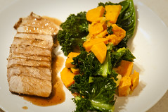 Pork Tenderloin with Sweet Potato and Kale