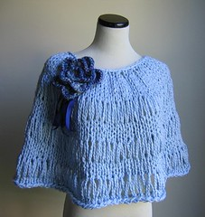 Organic Cotton knit poncho in Alice's blue (Happiknits) Tags: vegan recycled cape etsy bridal capelet ecofriendly specialoccasion cowl upcycled handspunartyarn happiknits lushmommy organiccottonknitaccessories