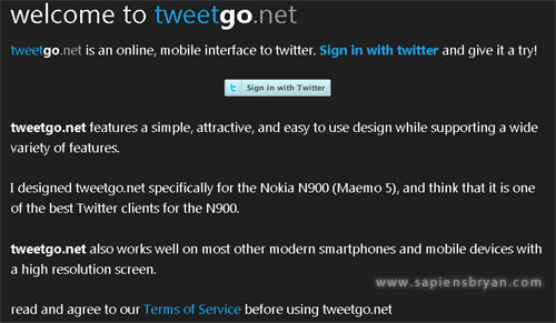 Tweetgo Twiter Web App on Nokia N900