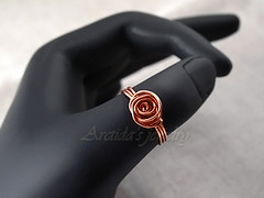 Copper Rose - handforged wire wrapped ring in copper (Arctida) Tags: rose spiral wire hammered handmade rustic band wrapped jewelry ring jewellery metalwork copper organic chic boho simple basic arctida