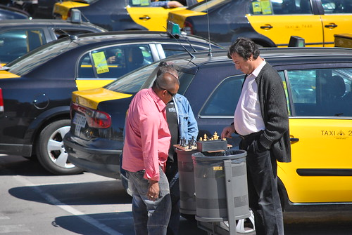 Barcelonas taxi drivers killing time by playing chess by Ivan  Mlinaric.