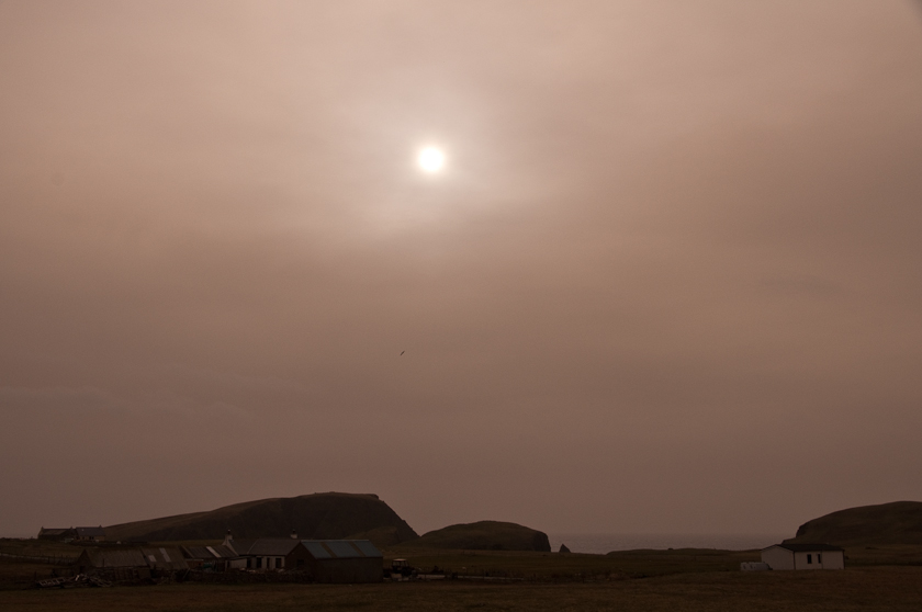 Ash cloud over Fair Isle, Shetland