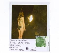 Bev's Crack - Polaroid Postcard from the Algarve! (REDBULLHEAD) Tags: portugal girl naked polaroid back sam bev postcard mason bum stamp bikini cave algarve meach cornwell sammyc bevymay