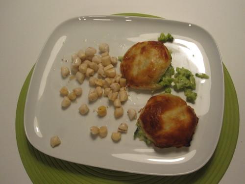leftover scallops, broccoli turnivers