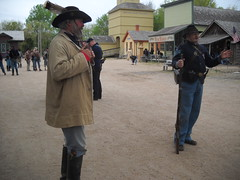 Rebel soldier and Union soldier (99kps) Tags: war weekend civil wichita cowtown