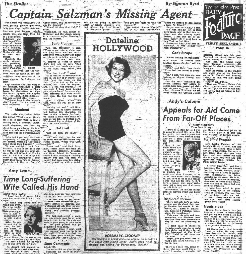 """Captain Salzman's Missing Agent"" - The Stroller - Houston Press, Pg. 15 - Friday, Sept. 4, 1953"