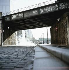 Ourcq & Smoke I (boal) Tags: street light urban paris france 120 6x6 rolleiflex mediumformat walking canal europe smoke slide ombre velvia pont slides ourcq 2010 diapositive 75019 moyenformat epsonv700