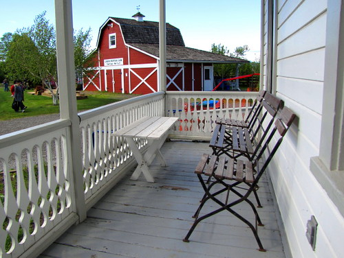 South-facing porch at the London Heritage Farm in Richmond BC