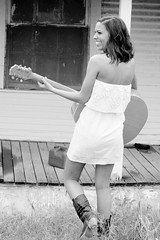 (Freckles Photography) Tags: portrait bw woman house abandoned senior girl beautiful smile blackwhite spring nikon play boots sweet guitar candid country vivid shack bold d80 nikond80