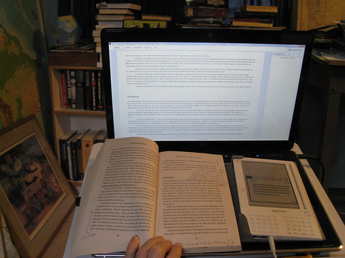 Reading with Kindle in my Study by brewbooks, on Flickr