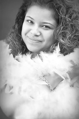 Lisa #14 (floralgal) Tags: portrait blackandwhite face female feathers headshot boa elegant featherboa femaleportrait blackandwhiteportrait creativeportrait prettyfemale elegantportrait featherwrap