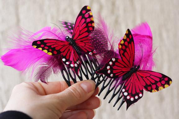 butterflies hot pink comb
