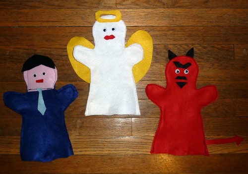 Angel, Devil, and Tyler puppets