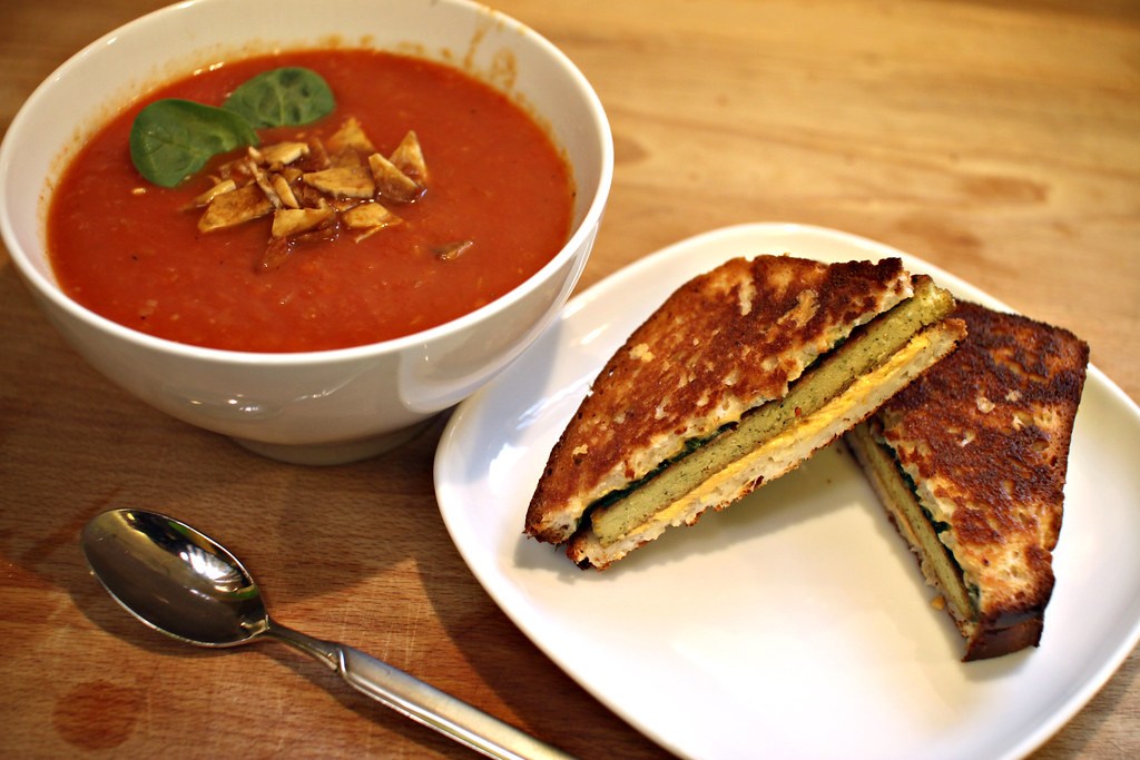 Tomato fennel orange soup and grilled cheese with spinach and tofu steak