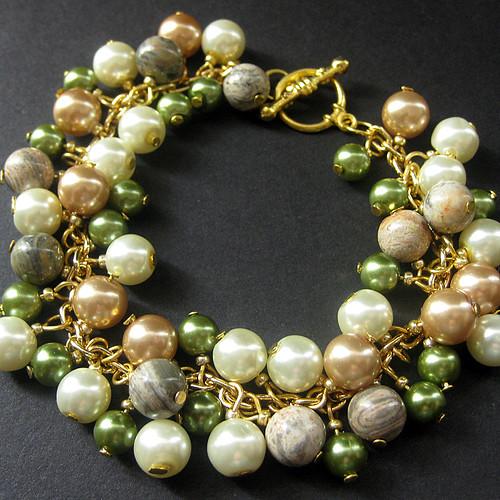 Summer Forest Glen Pearl Charm Bracelet