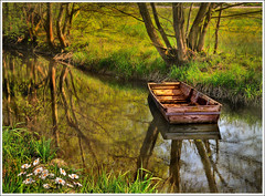 Daisy (Jean-Michel Priaux) Tags: france art nature water grass photoshop river painting landscape boat spring fishing nikon dream calm rivire peinture dreaming ill reflect bark alsace swamp serenity daisy paysage printemps hdr barque anotherworld savage smallboat pr ried d90 morass marcage priaux muttersholtz vanagram