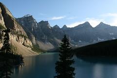 Lake Moraine- Wide (Heather.ea) Tags: sunset lake reflection rockies lakemoraine