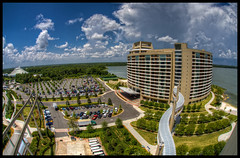 Disney Resorts - Bay Lake Tower from the 11th Floor (Cory Disbrow) Tags: travel photoshop canon orlando lab florida magic disney fl wdw waltdisneyworld hdr highdynamicrange 2010 waltdisney dvc contemporaryresort cs4 lakebuenavista baylake photomatix reedycreek sevenseaslagoon sigma15mmf28exdgfisheye disneyvacationclub canoneos5dmarkii may2010 worlddrive baylaketower vacationkingdomoftheworld corydisbrow