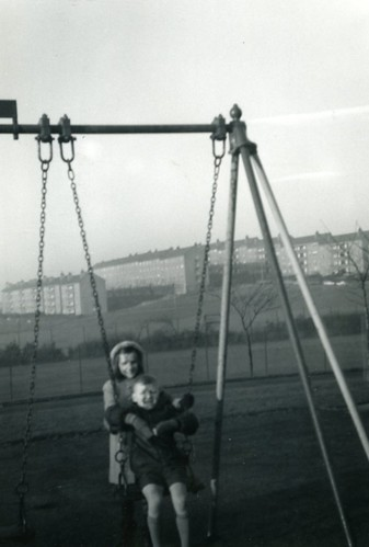 Alan Murray, swings, Cranhill Park 1969