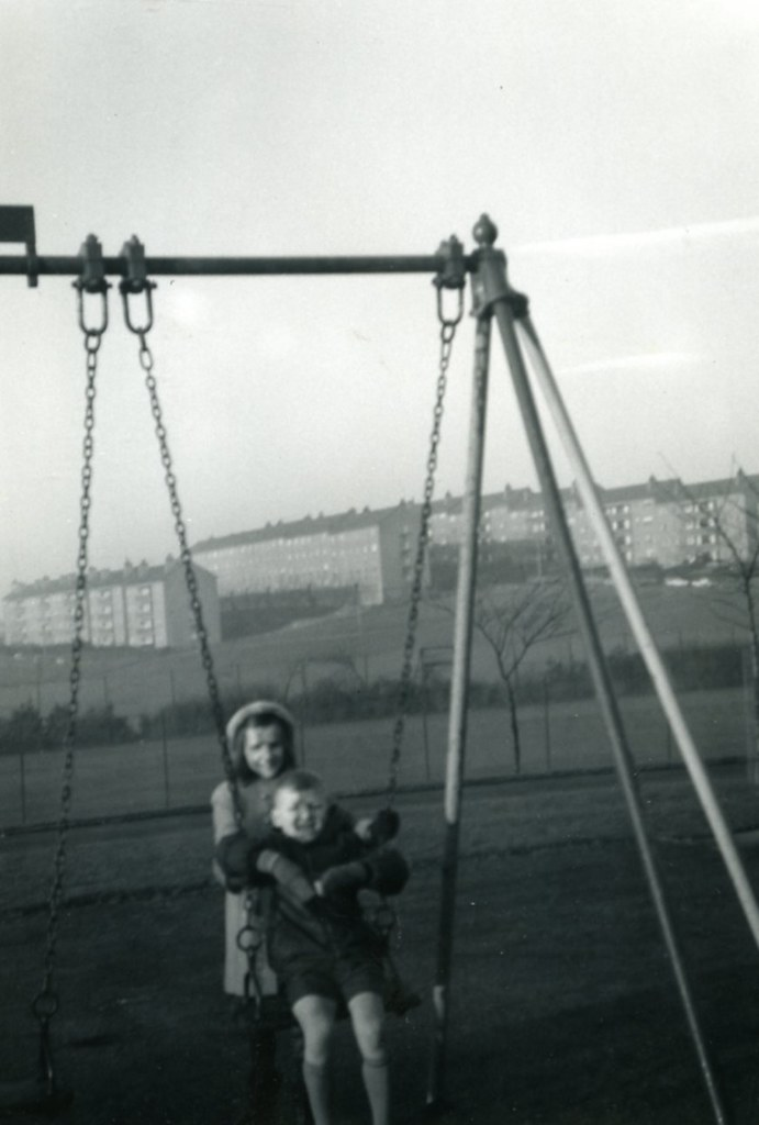 Alan Murray, swings, Cranhill Park 1969