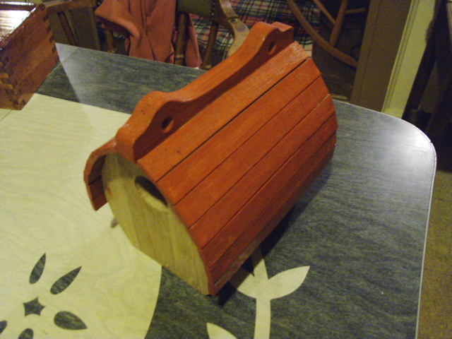 Birdhouse after first coat of paint
