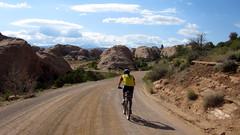 Moab:  Porcupine Rim Trail (Doug Goodenough) Tags: red mountain bike bicycle rock utah slick sand sandstone ride 10 doug steve spokes may cliffs trail national cycle moab pedals rim porcupine 2010 goodenough douggoodenough drg53110p moab2010day2