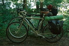 loaded Bikes (TimWitt) Tags: trip camping west slr film bike 35mm print virginia canal check long cross o trucker c bikes gear olympus scan bicycles va fixed omg surly touring loaded ortlieb haul pannier crosscheck lht