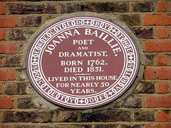 Photo of Joanna Baillie brown plaque