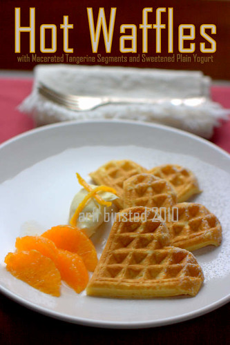 Hot Waffles with Macerated Tangerine Segments and Sweetened Plain Yogurt by ab2010