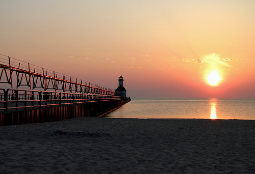 The Sun sets on Lake Michigan