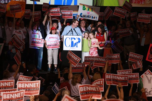 Photo of Michael Bennet and His Red Signs Removed by Bennet Campaign