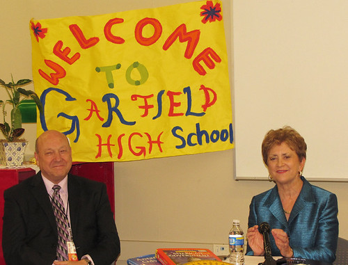 On May 20, Dennis Barrett sits with Dr. Thornton at Garfield High School.