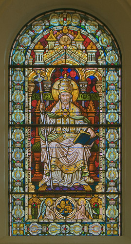Saint Meinrad Archabbey, in Saint Meinrad, Indiana, USA - stained glass window of Saint Pope Leo the Great