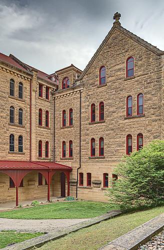 Saint Meinrad Archabbey, in Saint Meinrad, Indiana, USA - courtyard