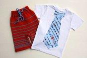Smart in the City set - knit shorties & appliqued t-shirt - medium