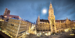 Marienplatz in Munich (Werner Kunz) Tags: world trip travel vacation holiday church photoshop shopping germany munich mnchen bayern deutschland bavaria nikon europe dom wideangle chapel german ultrawide frauenkirche hdr muenchen marienplatz deutsch ludwigstrasse photomatix 20fav theatinechurch explored colorefex nikond90 topazadjust lucysart werkunz1