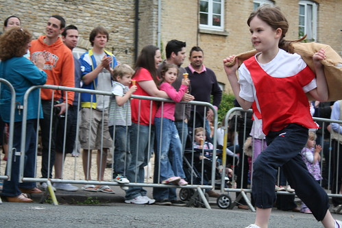 Girl in the children's relay