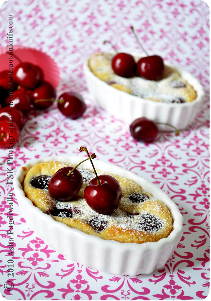 Cherry Clafoutis on table