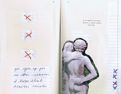 in memory of [page 4-5] (taylorboren) Tags: eve sculpture adam film writing cutout print book stitch pages sew x alteredbook inmemoryof looseleaf
