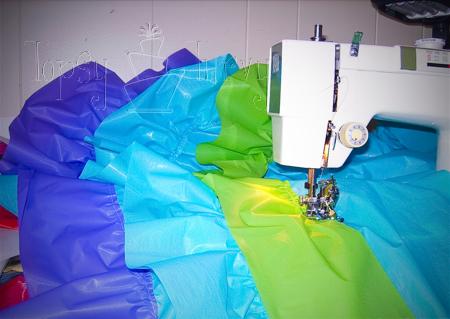 vinyl table cloth ruffled remodel layers rainbow