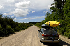 On the road again (Ron Hay) Tags: road kayak subaru gravel necky breedingbirdsurvey neartimmins amurak